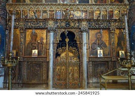 Old wooden altar in greek orthodox church in Guzelurt, North Cyprus                                - stock photo