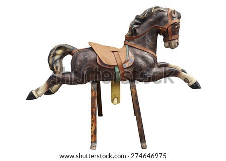 Old wooden and vintage Carousel Horse isolated on white with clipping path - stock photo