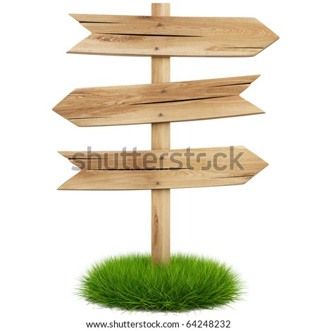 old wooden arrow on the grass isolated on white background including clipping path - stock photo