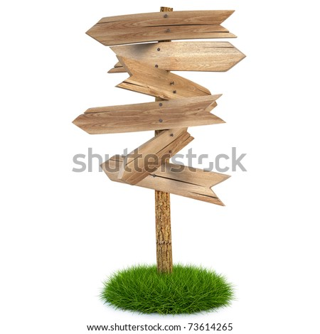 old wooden arrow on the grass isolated on white including clipping path