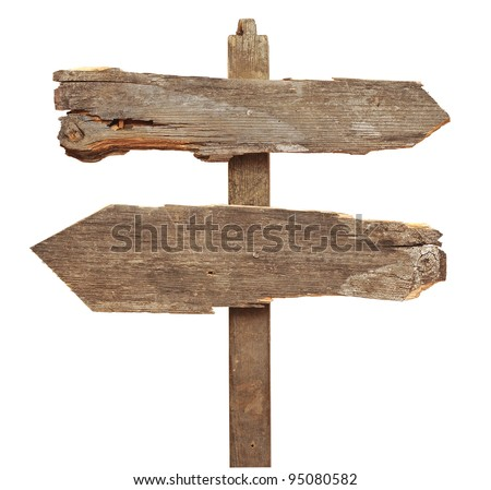 old wooden arrows road sign isolated on white - stock photo
