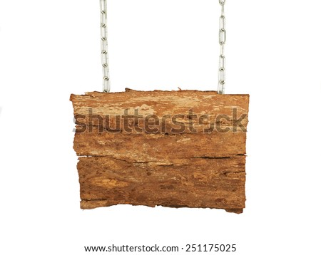 Old wooden background, a sign on the chains - stock photo