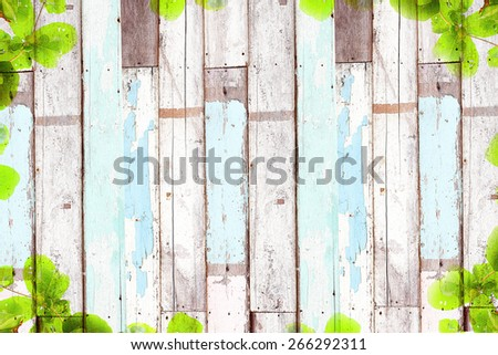 Old wooden background, with green tree frame - stock photo