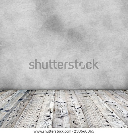 Old wooden background with grey wall.