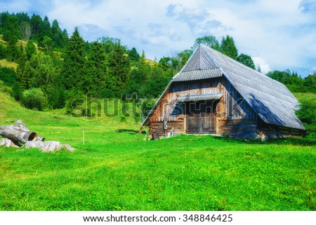 Old wooden Barn in Field, Mountains, Trees and Stormy Clouds; Pieniny, Poland