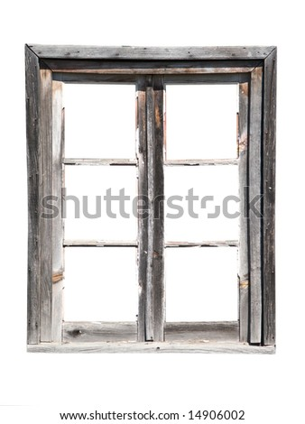 old wooden barn window isolated on white - stock photo