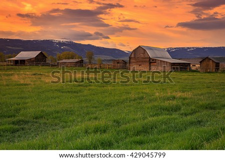 Old wooden barns in Mormon Row, Wyoming, USA. - stock photo