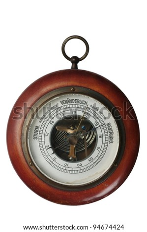 old wooden barometer on white background - stock photo