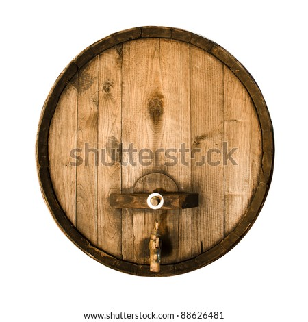 Old wooden barrel isolated on a white background - stock photo
