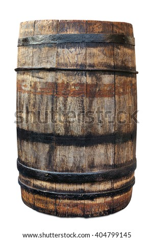 Old wooden barrel isolated on white. Clipping path included. - stock photo