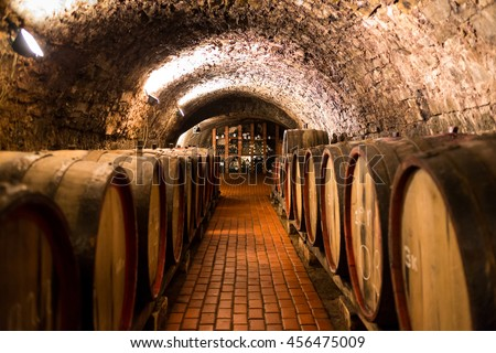 Old wooden barrels with wine in a wine vault, aged traditional wooden vine barrels lined up in cool and dark vine cellar, Italy, Porto, Portugal, France