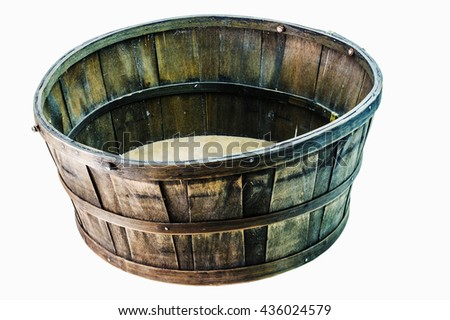 Old wooden basket on a white background. - stock photo