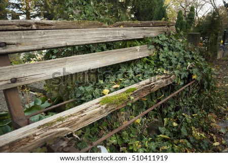 Old wooden bench,Dilapidated old wooden bench,object,park,nobody,outdoor,,plant,abandoned,