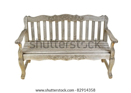 Old wooden bench - isolated - stock photo
