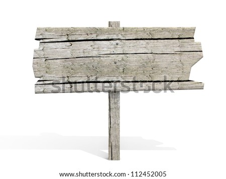old wooden billboard. isolated on white. - stock photo