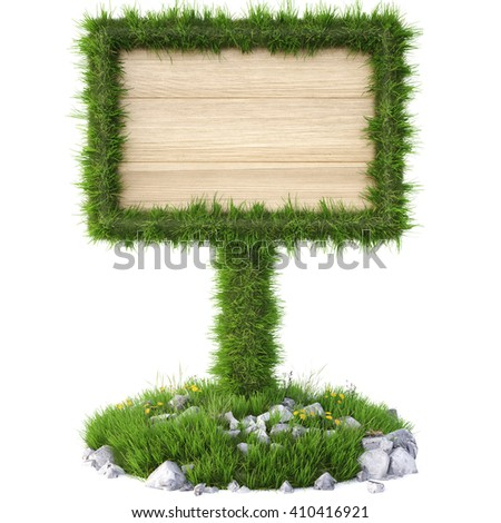 Old wooden billboard on the grass. Isolated on a white background. 3D illustration. - stock photo