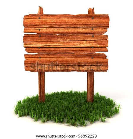 old wooden billboard on the grass isolated on white background - stock photo