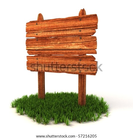 old wooden billboard on the grass isolated on white background