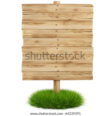 old wooden billboard on the grass isolated on white background including clipping path - stock photo