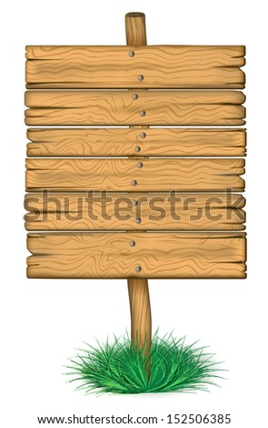 old wooden billboard on the grass. Rasterized illustration.
