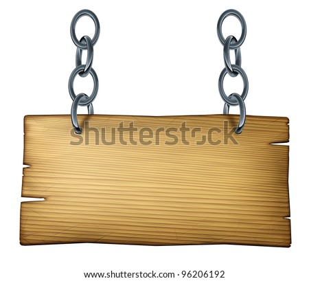 Old wooden blank sign made of weathered wood with a metal chain link connected and hanging the plank on an isolated background as a rustic design element for country or western theme announcements. - stock photo