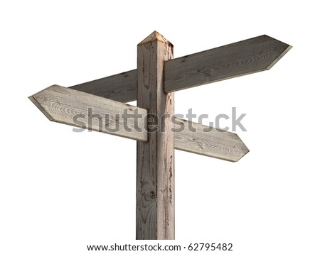 Old wooden blank signpost - stock photo