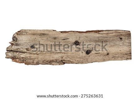 Old wooden board isolated on a white background