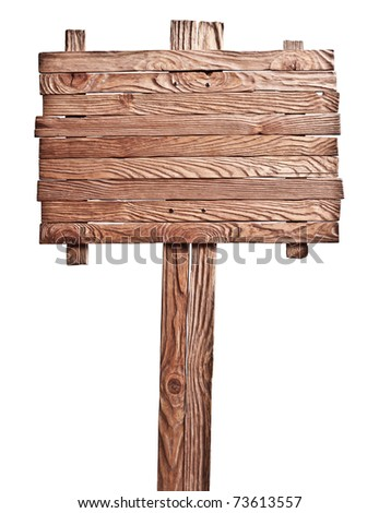 Old wooden board on the isolated white background - stock photo
