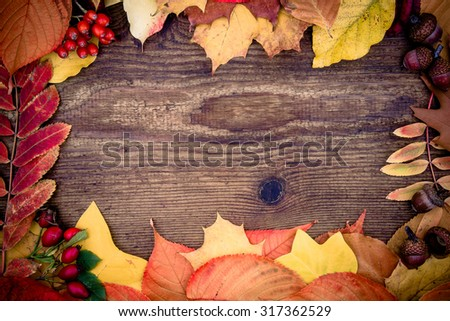Old wooden board with autumn leaves, top view - stock photo