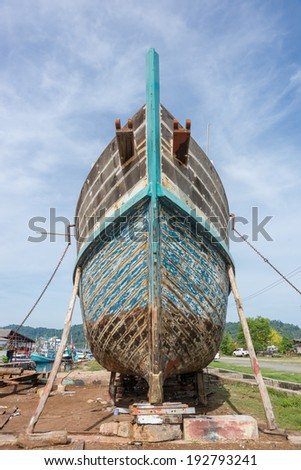 Old wooden boat hull Work a long time ago - stock photo