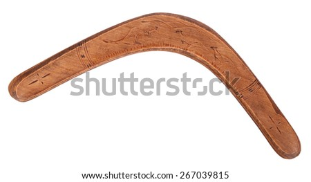 Old wooden boomerang - stock photo