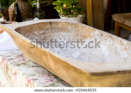 old wooden bowl used for making bread