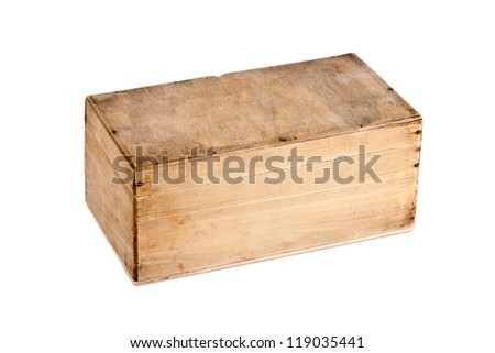 Old wooden box isolated on white background - stock photo