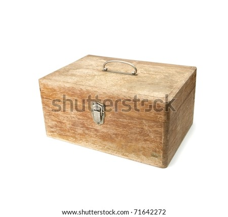 Old wooden box with handle.