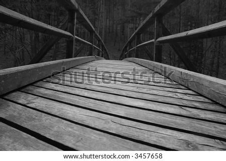 Old Wooden Bridge - stock photo