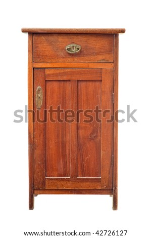 Old wooden cabinet isolated on white - stock photo