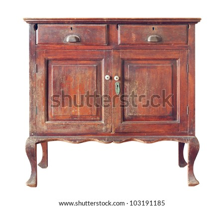 Old wooden cabinet isolated on white background - stock photo
