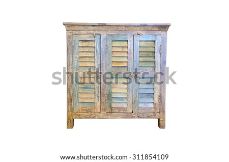 Old wooden cabinet isolated on white background