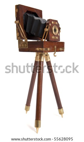 Old Wooden Camera - stock photo