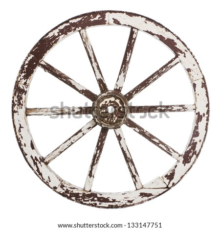 Old wooden cart wheel with white paint over a white background - stock photo