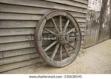 Old wooden cartwheel. Ballarat, Sovereign Hill, Australia - stock photo