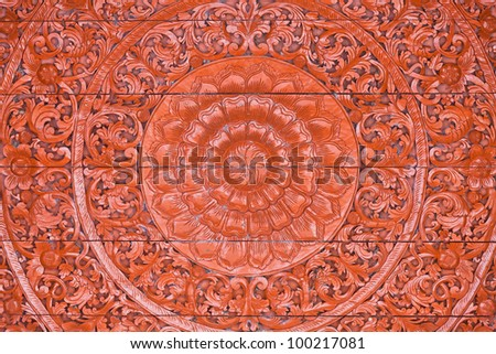 Old wooden carving in Thai style - stock photo
