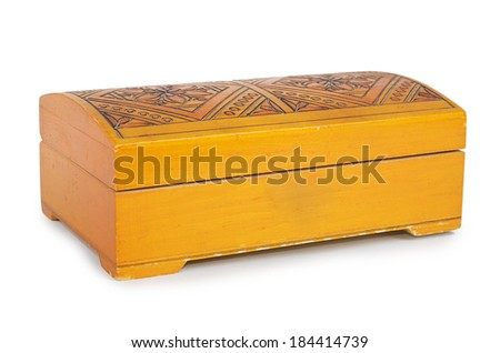 Old wooden casket isolated on white background - stock photo
