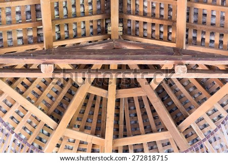 old wooden ceiling of a medieval castle - stock photo