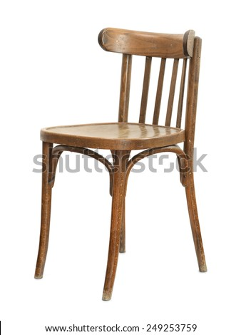 Old Wooden Chair Isolated On White