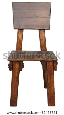 old wooden chair isolated on white - stock photo