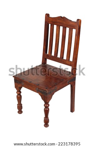 old wooden chair isolated on white background - stock photo