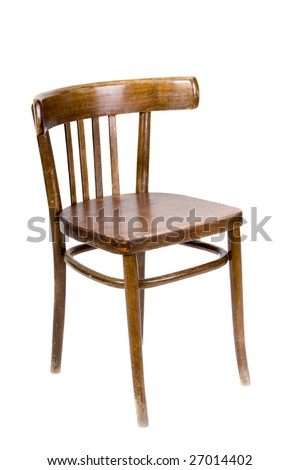 old wooden chair. old wooden chair on white background