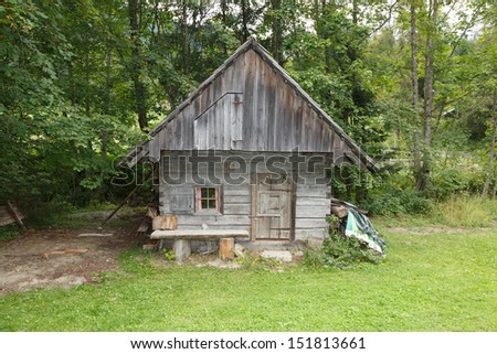 old wooden chalet / shack / lodge - stock photo