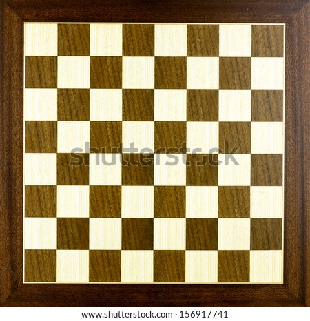 Old wooden chess board isolated - stock photo